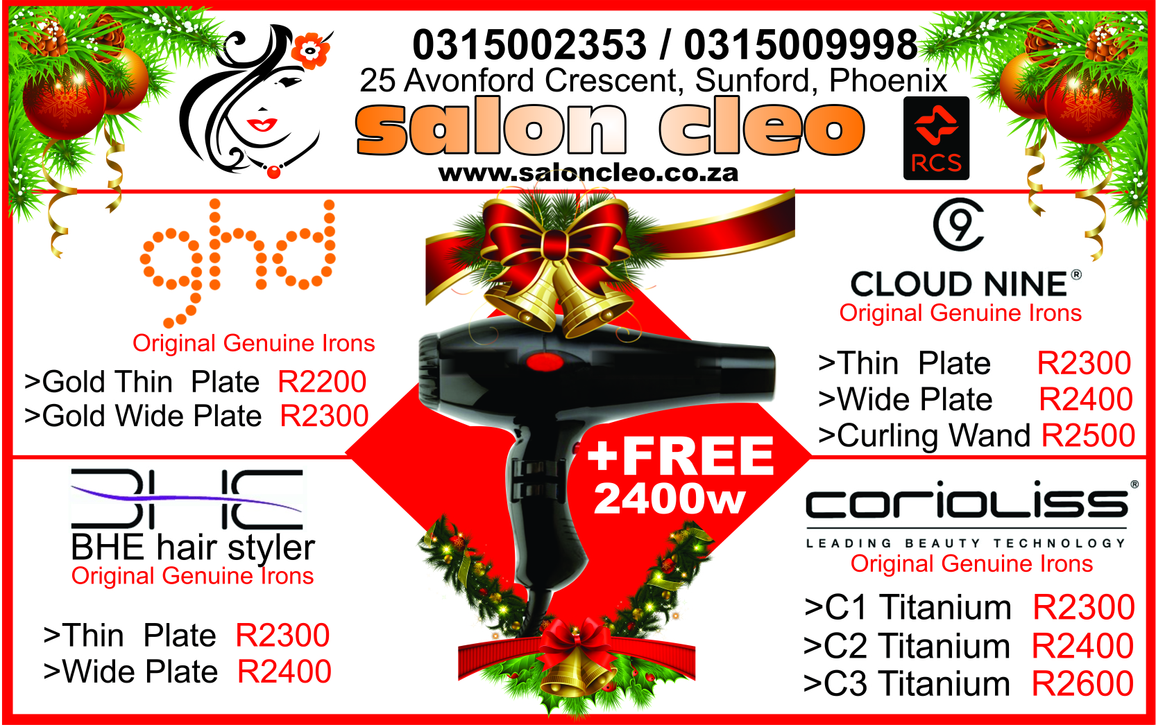 christmas specials at  salon cleo hair iron christmas packs on ghd cloudnine hair irons at salon cleo christmas hair iron specials on coriolliss irons christmas salon on bhe and cloud 9 hair irons in durban salon cleo 0315009998
