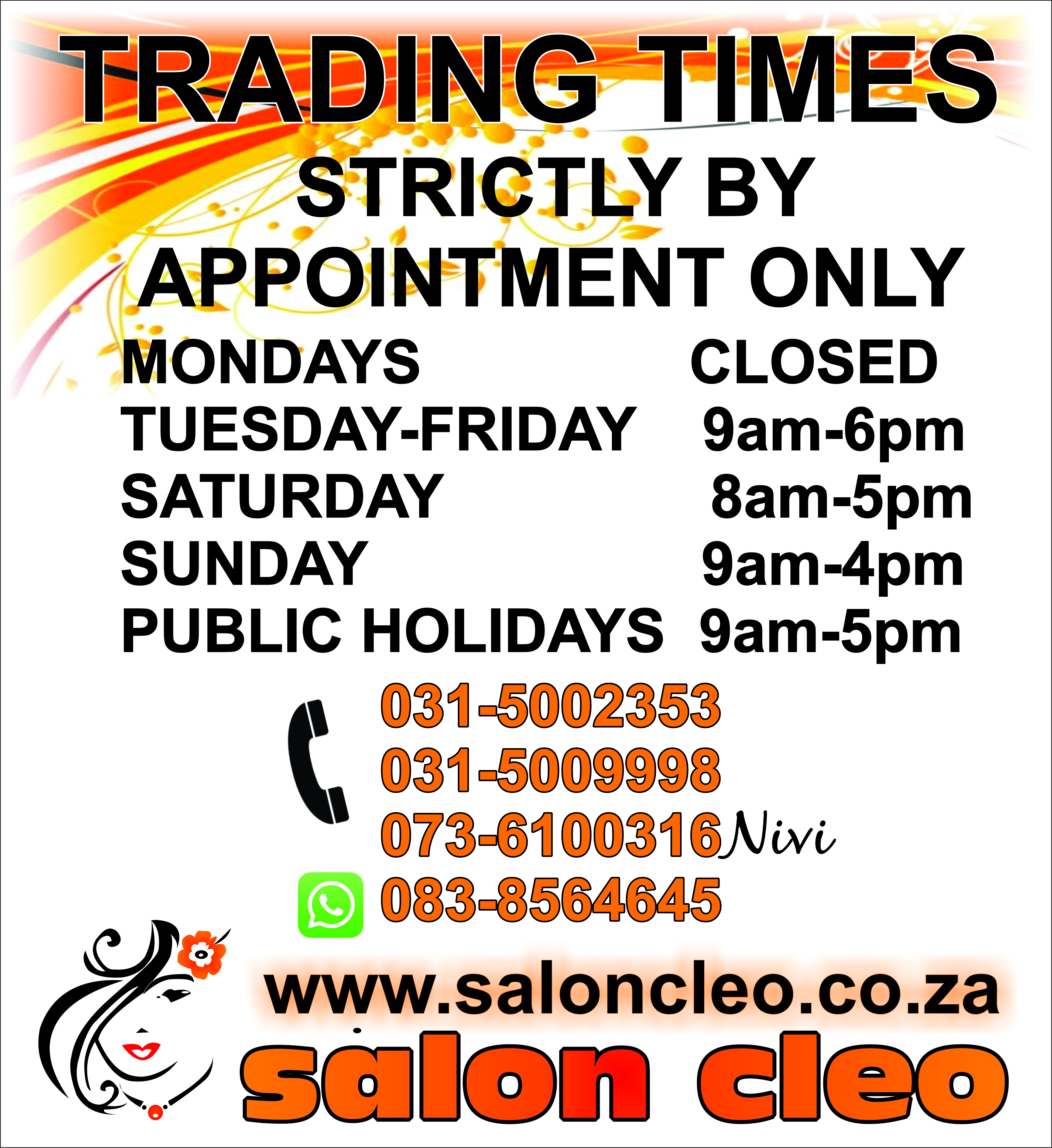 SALON CLEO FOR A NEW GENERATION IN HAIR SALONS KZN 0315009998