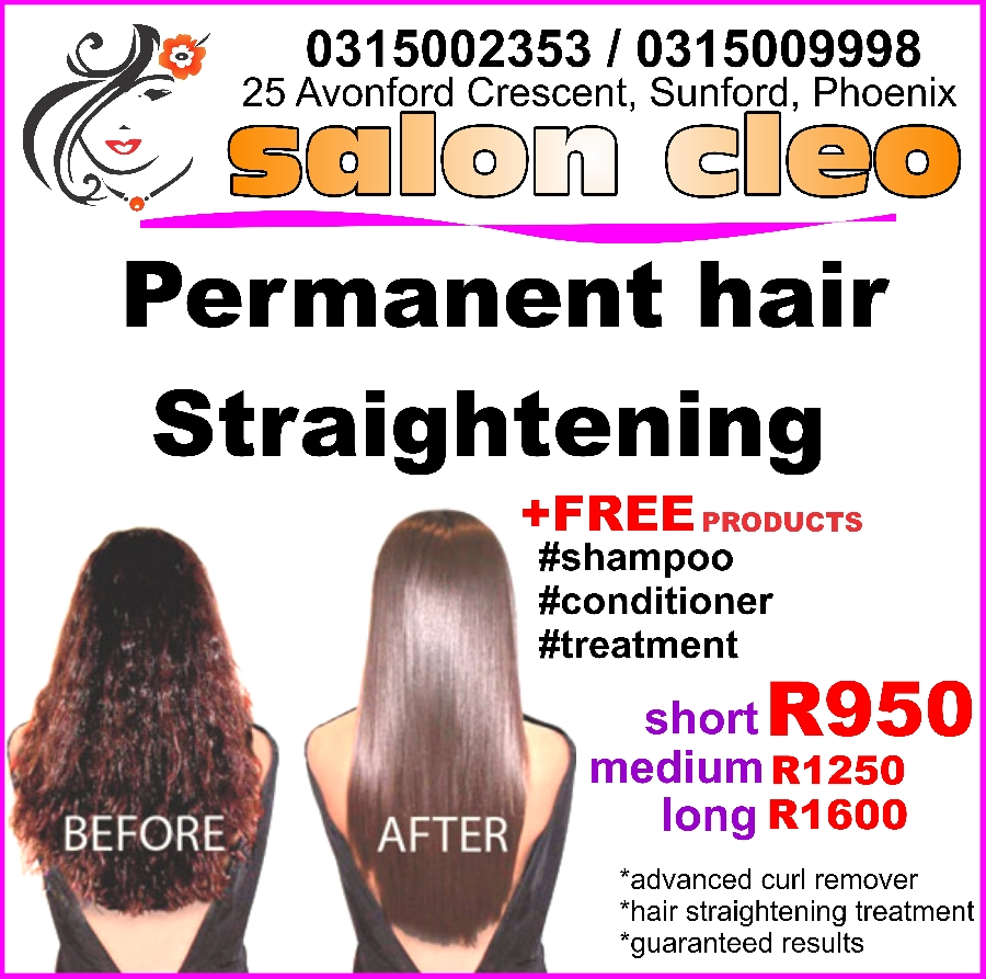 permanent hair straigtening guaranteed at salon cleo durban phoenix 0315002353