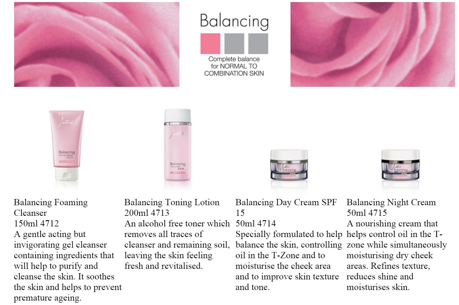 justine balancing range facial products at salon cleo durban 0315009998