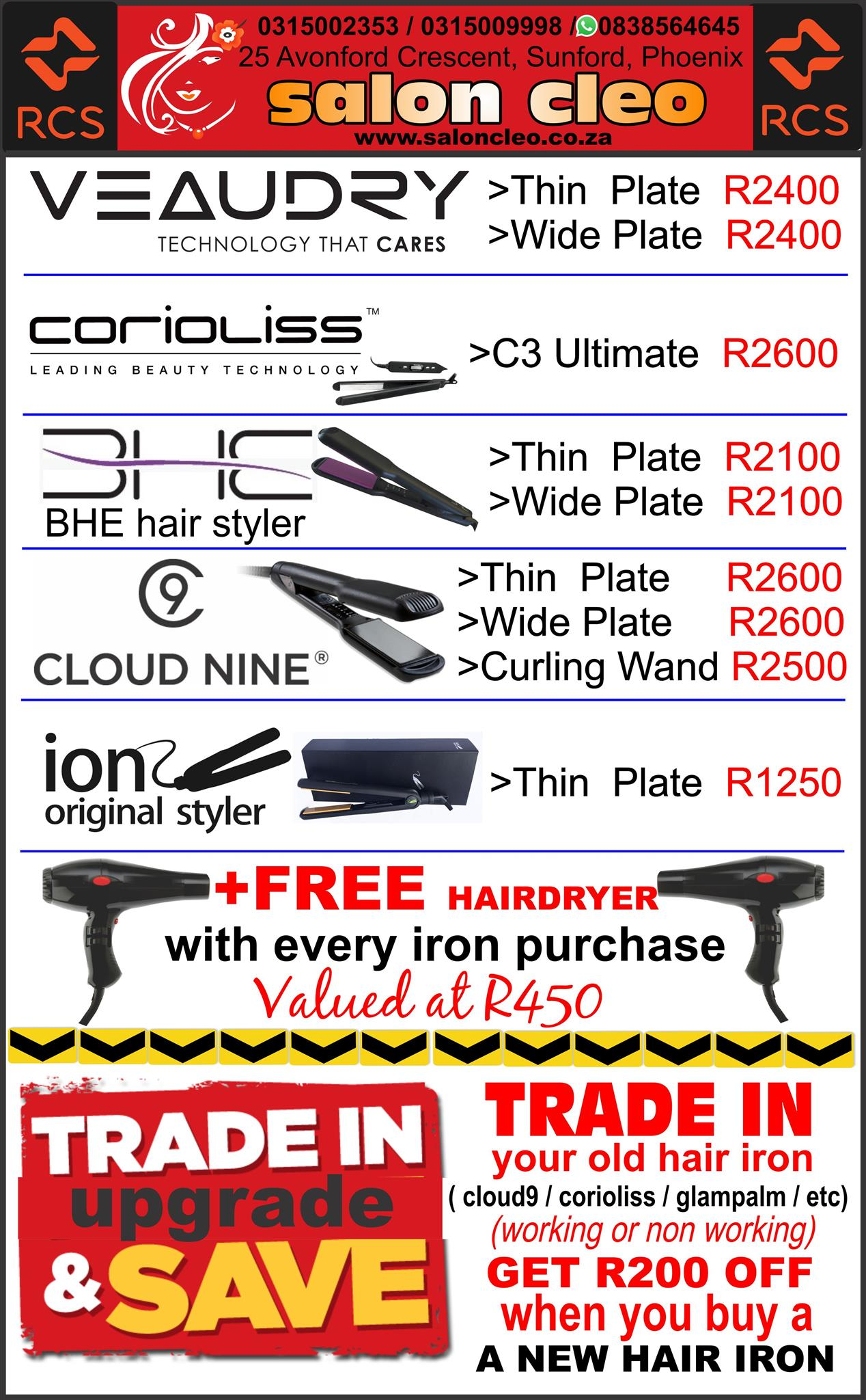 ghd cloud 9 bhe coriolliss veaudry hair iron stylers ion orginal hair iron straighteners salon cleo phoenix 0315002353 ghd hair straighteners bhe styers veaudry hair iron corioliss hair irons veaudry irons salon cleo phoenix veaudry salon cleo durban 0315009998