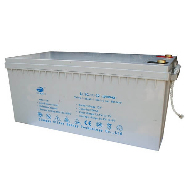 Oliter 12V 200Ah Gel Battery is designed for 12V products. It features the advantages such as low self-discharge rate and long cycle life.