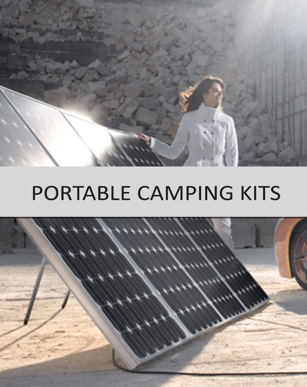 Relax in the shade while your foldable solar panel camping kit sits in the sun to charge your batteries! The portable solar panel for camping is a perfect starter system for weekend excursions in an caravan or 4 x 4 or for using as a backup or emergency power source. When you arrive at your camping destination, the portable folding solar panel kit set up process takes less than 4 minutes.